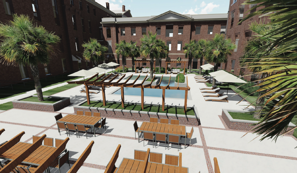 Babcock Building at BullStreet rendering of outdoor pool and lounge space
