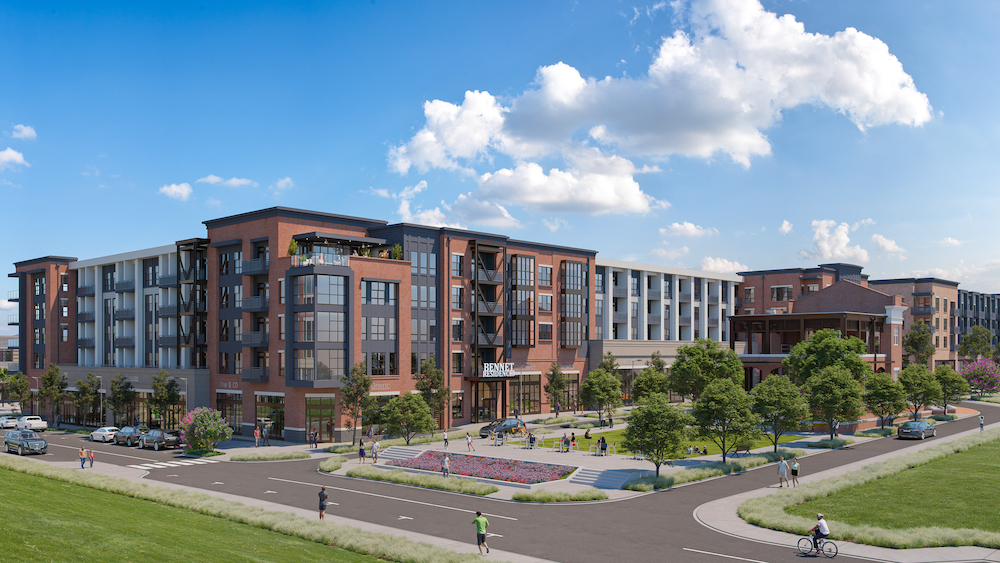 Rendering of Bennet at BullStreet, showing exterior face of apartment community.
