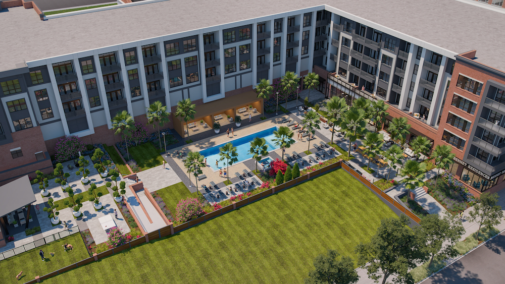 Rendering of Bennet at BullStreet, showing courtyard with pool, cabanas, lawn and other outdoor lifestyle amenities.