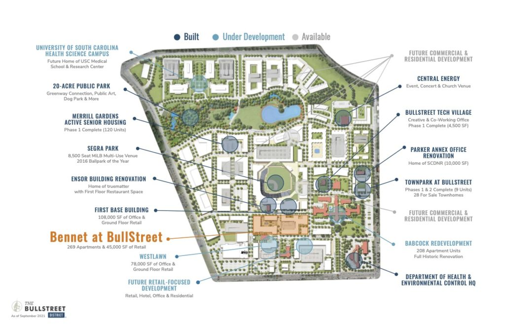 BullStreet District map showing site uses, including Bennet at BullStreet